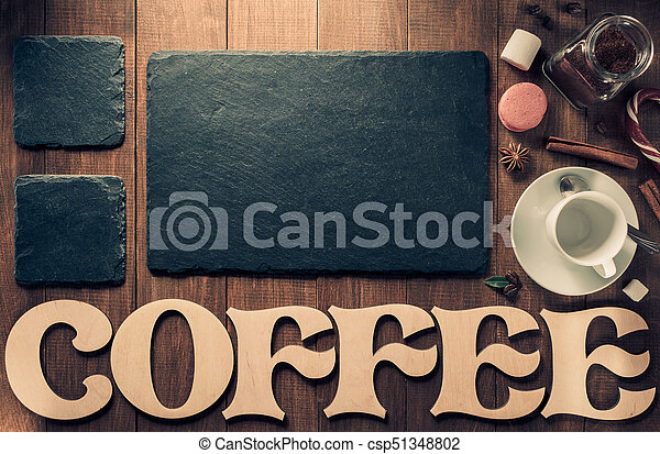 cup of coffee and letters on wood - csp51348802