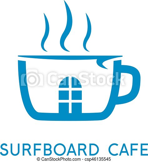 Cup of coffee and surfboard vector design template eps vector ...