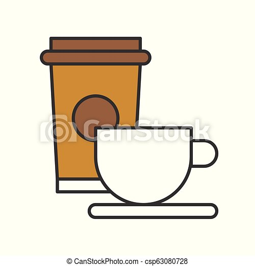 cup of coffee and take away coffee, food and gastronomy set, filled outline icon - csp63080728