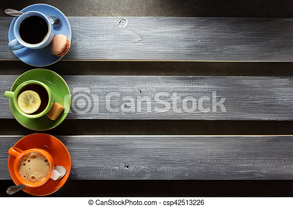 cup of coffee and tea on wood - csp42513226