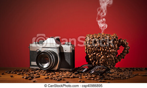 Cup of coffee beans - csp40986895