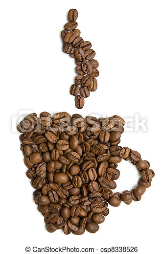 cup of coffee made from beans - csp8338526