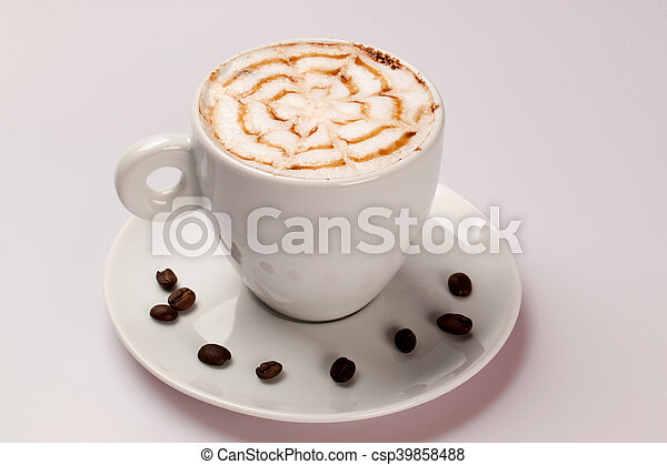 Cup of coffee on a white background. - csp39858488