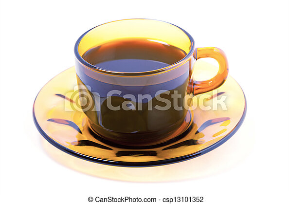 Cup of coffee on a white background - csp13101352