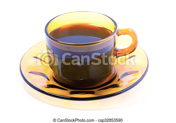 Cup of coffee on a white background - csp32853590