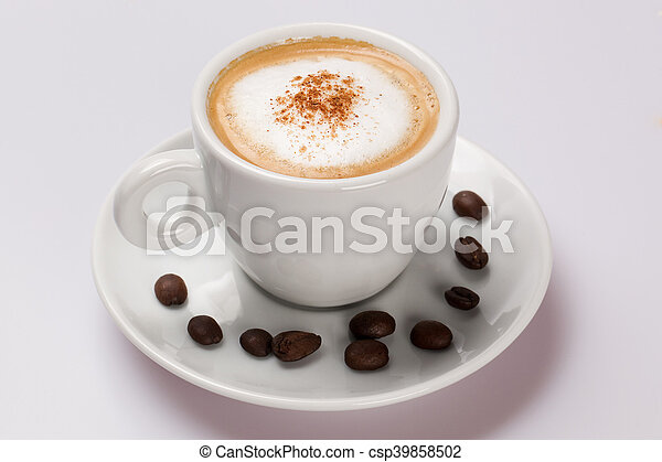 Cup of coffee on a white background. - csp39858502