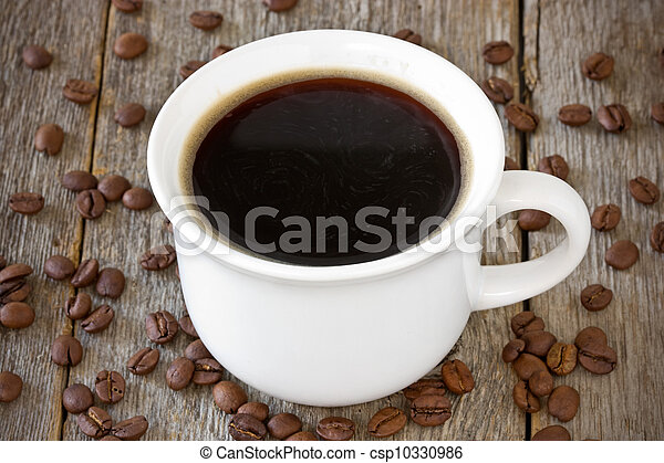 cup of coffee on wood background - csp10330986