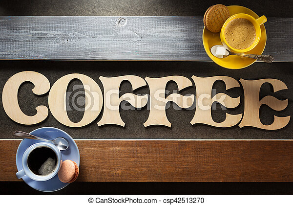 cup of coffee on wood - csp42513270