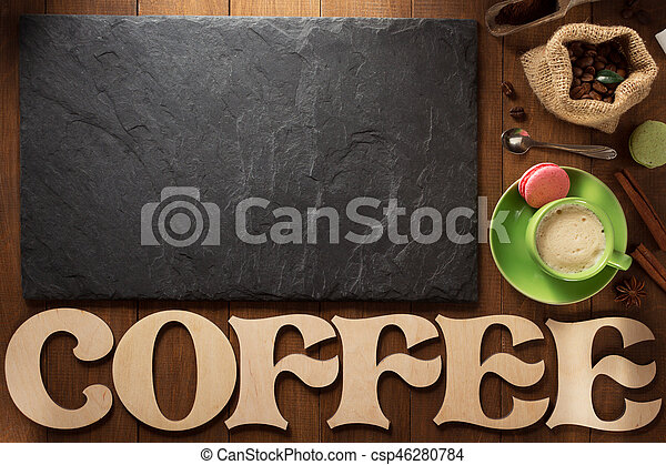 cup of coffee on wood - csp46280784