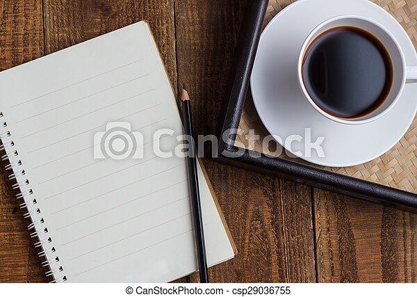 cup of coffee on wood - csp29036755