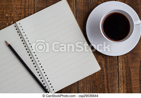 cup of coffee on wood - csp29036644