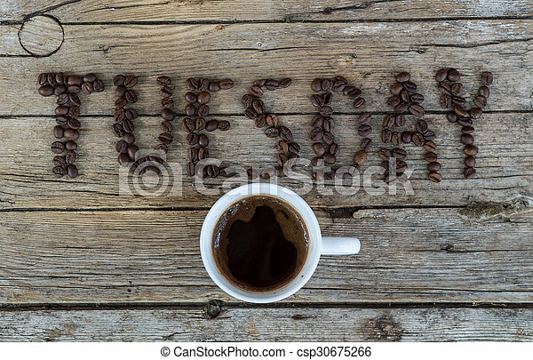 Cup of coffee on wooden background  - csp30675266