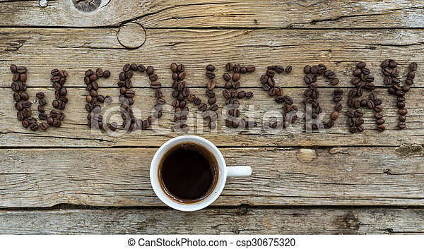 Cup of coffee on wooden background  - csp30675320