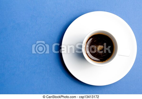 cup of coffee over the blue  - csp13413172