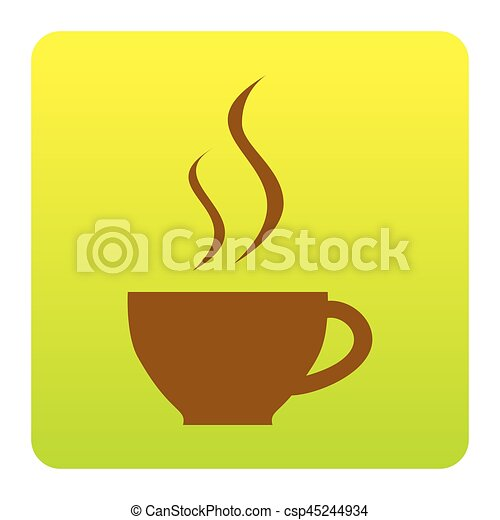 Cup of coffee sign. Vector. Brown icon at green-yellow gradient square with rounded corners on white background. Isolated. - csp45244934