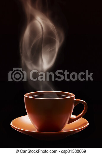 Cup Of Coffee With Grain Symbol Of Steam Isolated On Black Background
