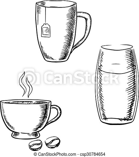 Cup of coffee, tea and glass of water sketches. Cup of... clipart ...
