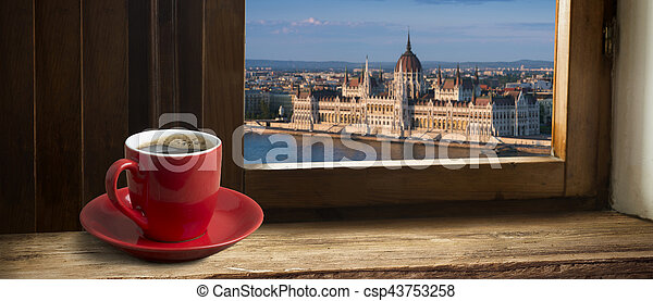 Cup of coffee with a view the parliament in Budapest - csp43753258
