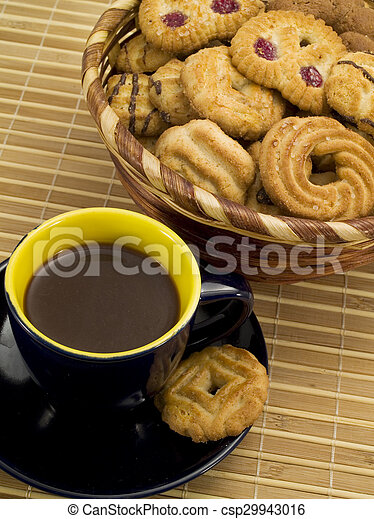 Cup of Coffee with Biscuits - csp29943016