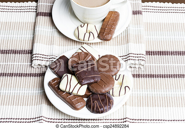 cup of coffee with biscuits - csp24892284