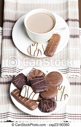 cup of coffee with biscuits - csp23190360