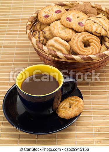 Cup of Coffee with Biscuits - csp29945156