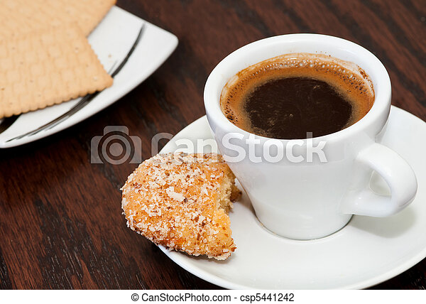 Cup of coffee with biscuits - csp5441242