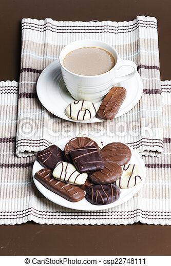 cup of coffee with chocolete biscuits - csp22748111