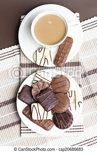 cup of coffee with chocolete biscuits - csp20686683