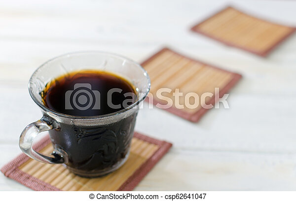 Cup of coffee with cookies. on white wooden board. - csp62641047