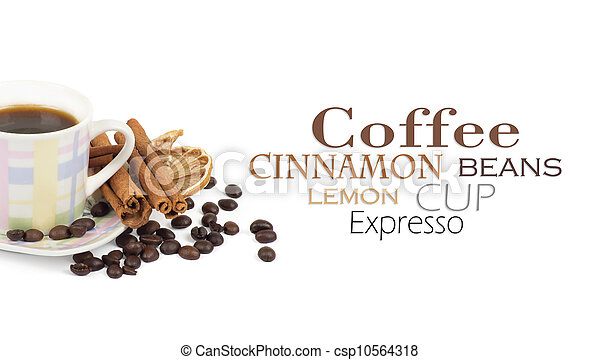 Cup of coffee with ingredients on a white background - csp10564318