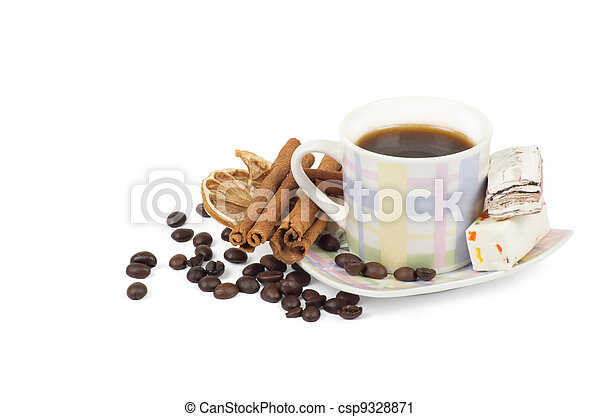 Cup of coffee with ingredients on a white background - csp9328871