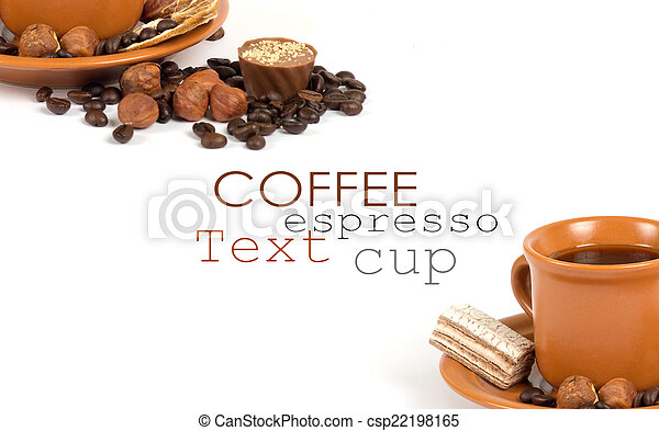 Cup of coffee with ingredients on a white background - csp22198165