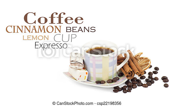 Cup of coffee with ingredients on a white background - csp22198356