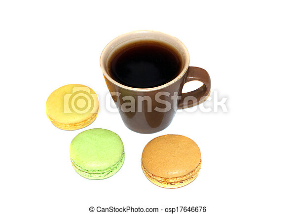 Cup of coffee with macaroon - csp17646676