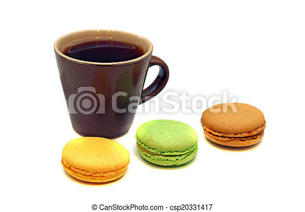 Cup of coffee with macaroon - csp20331417