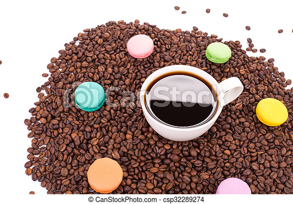Cup of coffee with macaroons - csp32289274