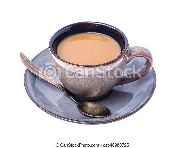 Cup of coffee with milk on pastel background - csp48980725