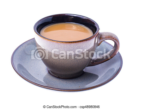 Cup of coffee with milk on pastel background - csp48980846