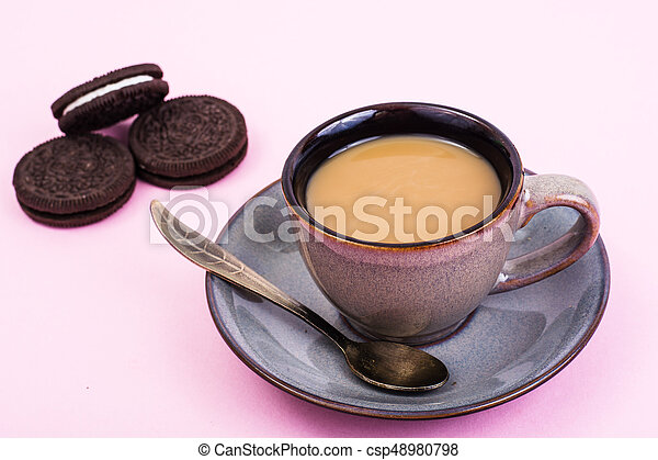 Cup of coffee with milk on pastel background - csp48980798