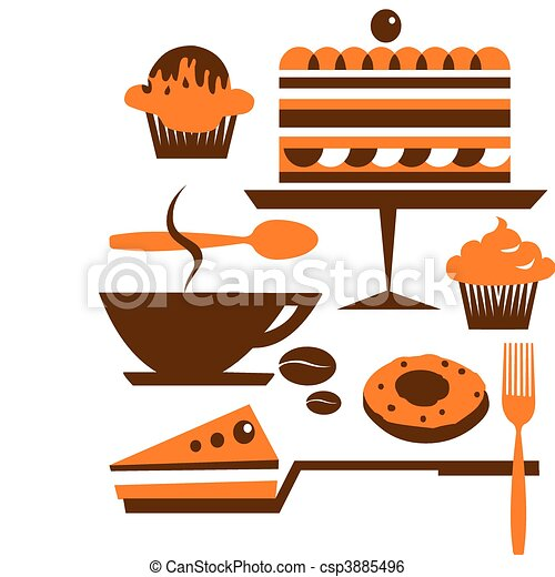 cup of coffee with several desserts and pastry     - csp3885496