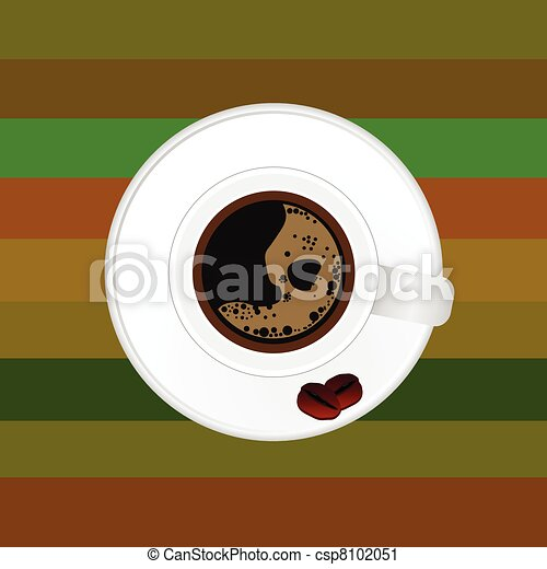 Cup Of Coffee With Two Bean Vector Illustration