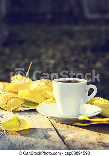 cup of espresso coffee on an autumn nature - csp63894598