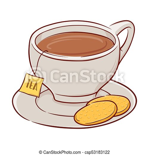 cup of tea and biscuits vector illustration of a cup of tea with