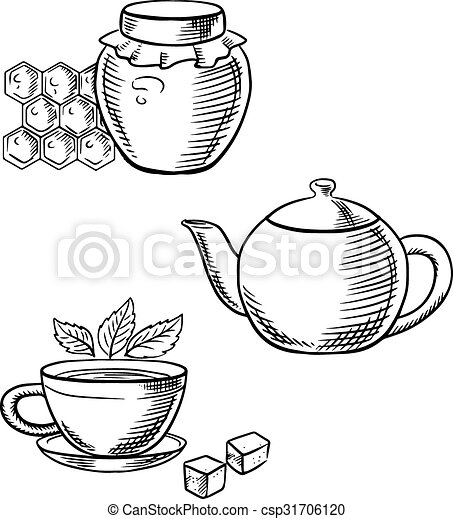 Cup of tea, honey jar and teapot sketches. Cup of tea with... vector ...