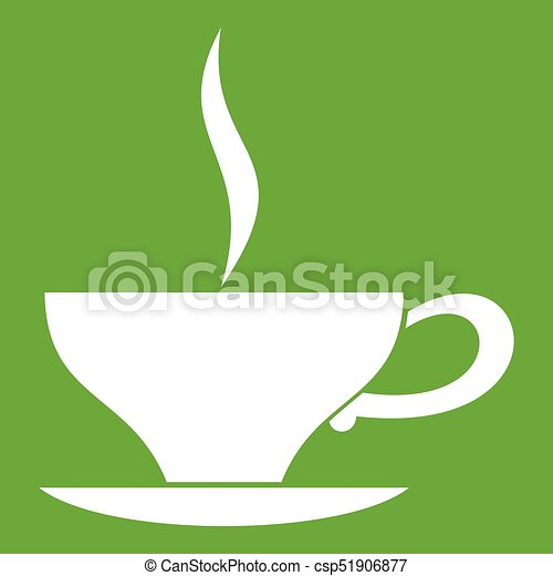 cup of tea icon green cup of tea icon white isolated on green background vector illustration can stock photo