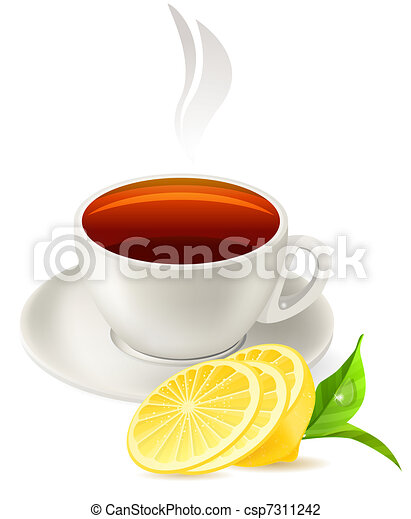 Cup of tea isolated on white background - csp7311242