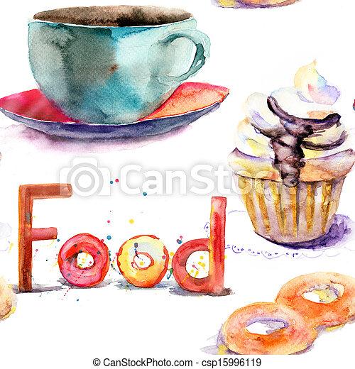 Cup of tea with buns - csp15996119