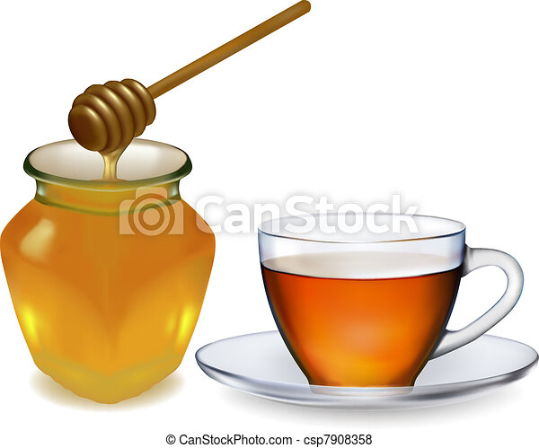 Cup of tea with honey - csp7908358