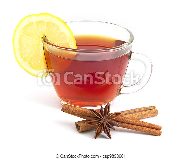 Cup of tea with lemon, anise star and cinnamon - csp9833661